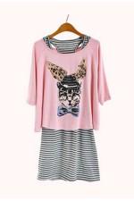 Платье StripyBunny розовое